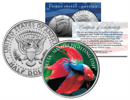 SIAMESE FIGHTING FISH JFK Kennedy Half Dollar U.S. Coin